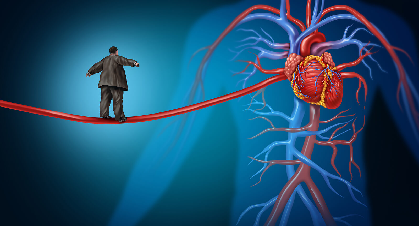cartoon showing man with congestive heart failure